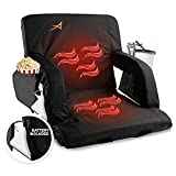 ACELETIQS Wide Double Heated Stadium Seats for Bleachers with Back Support – USB Battery Included - Upgraded 3 Levels of Heat - Foldable Chair - Cushioned, 4 Pockets, Cup Holder - Camping, Games