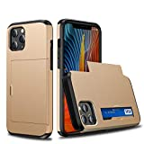 XQ-HD Compatible for iPhone 12 Pro Max Wallet Case, Credit Card Holder ID Slot fit 2 Cards Hybrid Dual Layer Hard PC Back Cover + Soft Silicone, Slim case with Card Holder iPhone 12 Pro Max 6.7 inch.