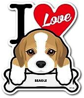 PET-024 BEAGLE ビーグル DOG STICKER ドッグステッカー 車 犬 イラスト アイラブ ペット 愛犬