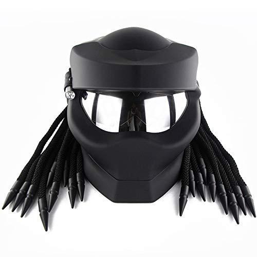 ZJRA Predator Helm, Motorradhelm, DOT-geprüft, geflochtenes Haar, Vollgesichts-Motocross-Helm, LED-hell,L59~60cm