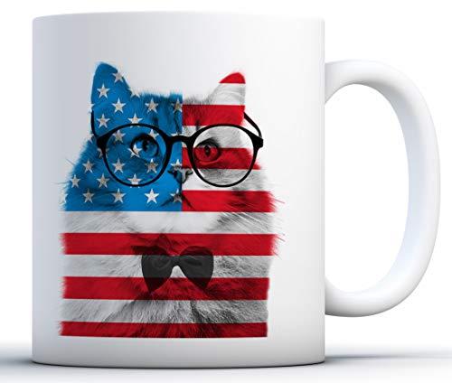N\A Tazas del Gato. EE.UU. Taza temáticas. Estrellas y Rayas Cuarto de los Regalos de Julio. Amante de los Gatos