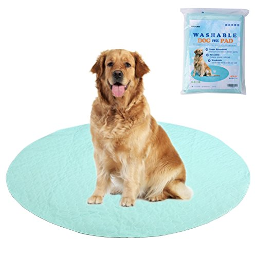 EXPAWLORER Washable Pee Pads for Dogs - Reusable Round Pad for Puppy Playpen Pen, Puppy Housebreaking Training, Travelling and Whelping, 48