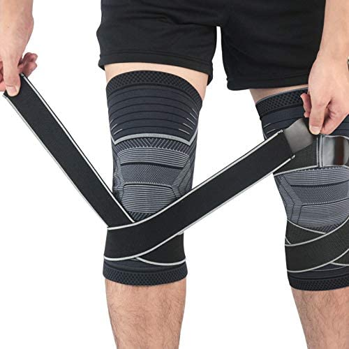 Beister 1 Pair Knee Compression Sleeves with Adjustable Straps for Men Women Professional Knee product image