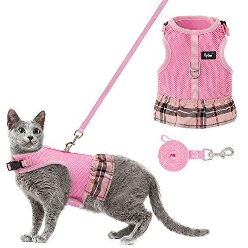 PUPTECK Cat Harness Dress and Leash - Escape Proof Adjustable Cat Vest Harness, Soft and Breathable for Walking Outdoor, Harness for Puppy, Small Dog, Cat