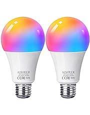Ampoule Intelligente Wifi Led Smart Bulb E27, AISIRER Ampoule Connectee Alexa, Compatible Avec Alexa, Google Home, Commande De Téléphone, Lumière Blanche Chaude Sans Moyeu Nécessaire 2 Pack