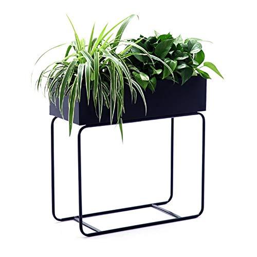 ZHEYANG Soporte para plantas con cubeta de flores, balcón, soporte de metal, para plantas de salón, decoración de jardín, 5 colores para esposa (color: negro)