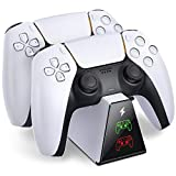 BEBONCOOL PS5 Controller Charging Station Compatible for Playstation 5 DualSense Wireless Controllers, Durable Fast PS5 Controller Charger Dock with USB Type-C Charging Cable & LED Indicators