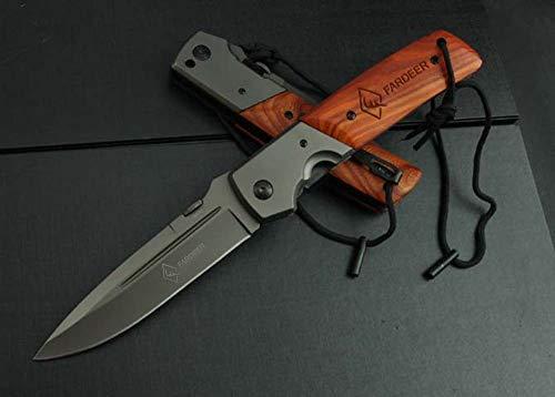 QUIET TOWN FARDEER Couteau Pliant de Randonnée Couteau de Survie Couteau de Poche Couteau Multifonction D'extérieur FD52