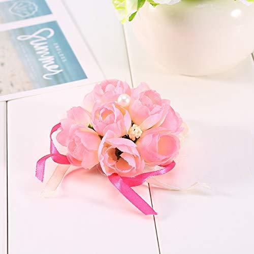 Flor de muñeca - Pulsera de Ramillete de muñeca Hermanas Dama de Honor Flores de Mano Decoración de Fiesta de Boda