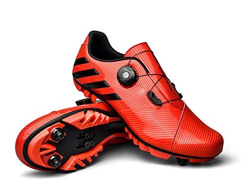 Zapatillas De Ciclismo Zapatillas De Bicicleta De Montaña para Hombre Zapatillas De Bicicleta Profesionales Zapatillas Deportivas Ultraligeras con Bloqueo Automático(41, Red)