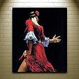 WACYDSD Puzzle 1000 Piezas Bailarina De Flamenco Española En Vestido Rojo. Cuadros De Pared con Decoración para Sala De Estar.
