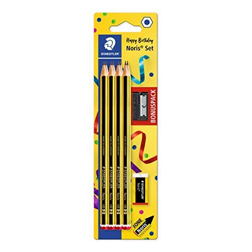 STAEDTLER Blyertspenna Noris, HB, sexkantad, set med 8 otroligt brottsäkra pennor, 1 pennvässare, 1 radergummi, hög kvalitet tillverkad i Tyskland, 120 SBK8P1