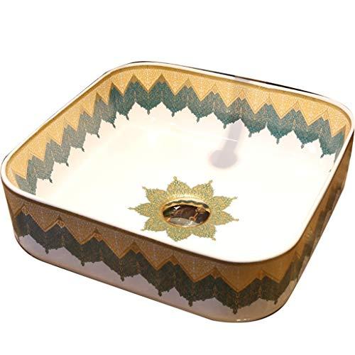 Lavabos Muebles De Baño con Lavabo Encimera Baño Lavabo De Encimera De Arte Verde Vintage Lavabo Cuadrado De Cerámica para Baño Inodoro Geométrico Industrial (Color : Green, Size : 39 * 13cm)
