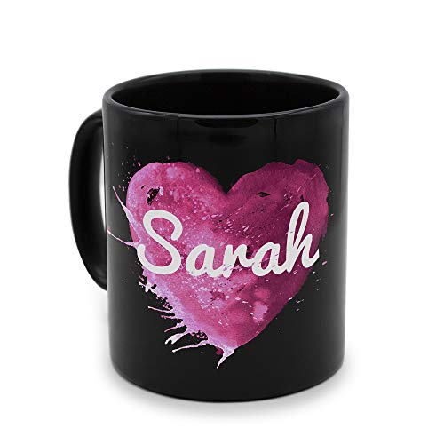 printplanet - Tasse Schwarz mit Namen Sarah - Motiv: Painted Heart - Namenstasse, Kaffeebecher, Mug, Becher, Kaffeetasse