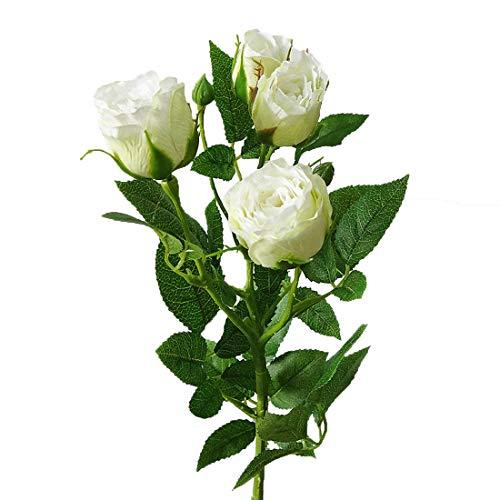 Calcifer Lot de 6 ensembles (4 tiges) de roses chinoises de 60 cm (27,56 cm) - Bouquet de roses chinoises - Fleurs artificielles pour mariage, fête, maison, jardin, bureau, magasin - Décoration (Blanc)