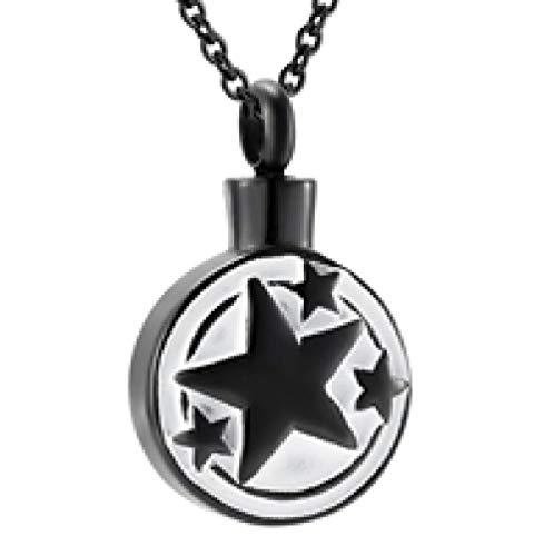 Cenizas Inoxidablecolgante De Acero Collar de urna conmemorativa de recuerdo de cremación en forma de estrella Joyería de forma redonda de acero inoxidable para medallón funerario-B3