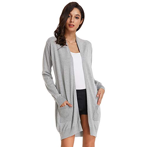GRACE KARIN Damen Strickmantel Lang Sweater Langarm High Stretchy Casual Offene Strickjacke mit Taschen M Hellgrau CLAF1003-16