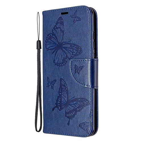 Lomogo Huawei P Smart 2020 / nova lite 3+ Hülle Leder, Schutzhülle Brieftasche mit Kartenfach Klappbar Magnetisch Stoßfest Handyhülle Hülle für Huawei P Smart 2020 - LOBFE140598 Blau