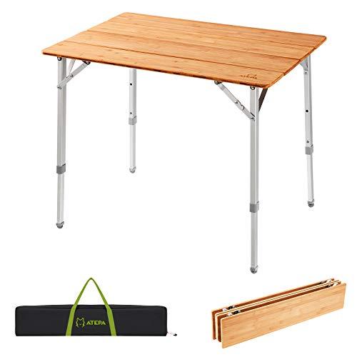ATEPA アウトドア テーブル キャンプテーブル 3段階高さ調整可能 折りたたみ アウトドアテーブル 竹製 4折り 80×60×45/ 52/65 cm コンパクト 4~6人用 お花見 バーベキュー ピクニック
