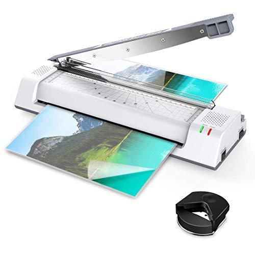 ABOX Plastificadora A3 A4, 5 en 1 OL381 con 2 rollos, función ABS, cortador y redondeador de esquinas, incluye 16 láminas para oficina, hogar y escuela, color blanco