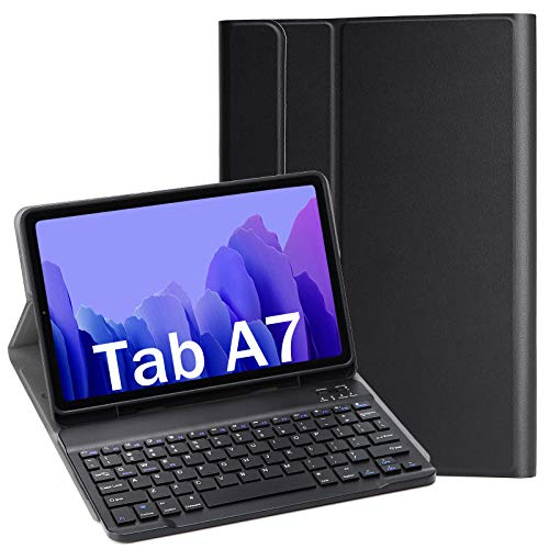 APISHUM Tastiera Custodia per Samsung Galaxy Tab A7 10.4 2020 Cover, Slim PU Case [QWERTY English] Rimovibile Wireless Bluetooth Keyboard Tastiera per Samsung Galaxy Tab A7 2020 SM-T500 T505, Nero