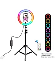 Goolsky 10.2 Inch Dimmable 168 LEDs Photography Light Selfie Lamp with RF Remote Controller & Mobile Phone Bracket for Live Broadcast/Makeup/Video Show