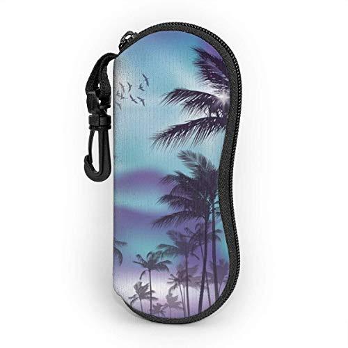 Nigel Tomm Silueta de árbol de coco con estuche para gafas de gansos que protege y almacena las gafas de sol, adecuado para hombres, mujeres y niños