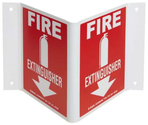 Brady 45368 5-1/2' x 10' x 4' Size, B-493 Polystyrene, White On Red Color High Visibility Sign-Rigid, Legend 'Fire Extinguisher (With Down Arrow) (With Picto)'