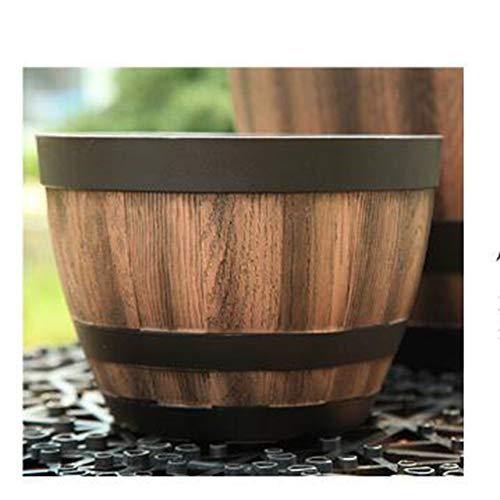 LYT Rustic dark brown half-barrel barrels for indoor and outdoor flower/plant pots - suitable for plants, flowers, gardens, patios, conservatories or entire families,A,S