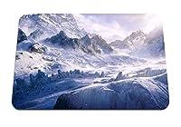 22cmx18cm マウスパッド (トップス雪山冷たい吹雪風) パターンカスタムの マウスパッド