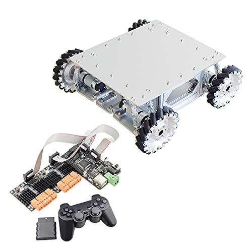 SFUO 40kg Ladeschockabsorption MECANUM Robot CAR Chassis KIT MIT 4 STÜCKE Planetengetriebe Motor FIT FÜR ARDUINO STM32 HIPBERRY PI (Color : with PS2 Control)