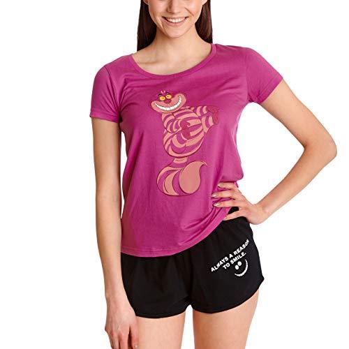 Alice im Wunderland Disney Damen Pyjama Grinsekatze kurz 2tlg T-Shirt Hose Baumwolle pink schwarz - L