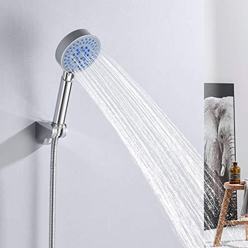 Auralum Edelstahl Handbrause duschkopf mit schlauch und halterung, duschbrause mit 5 Strahlarten Duschkopf wassersparend und Anti-Verbrühschutz