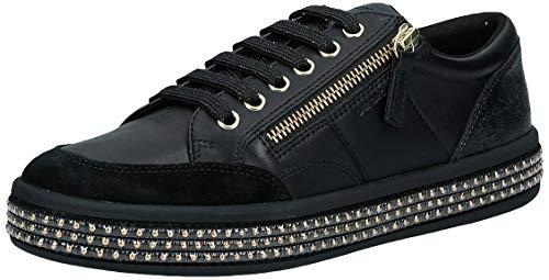 Geox Damen D LEELU' E Sneaker, Black, 42 EU
