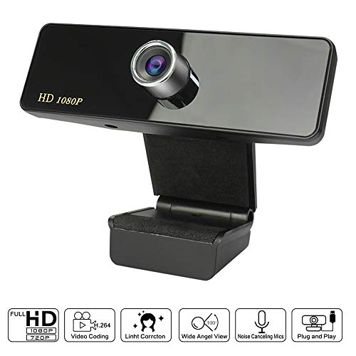 KCatsy Webcam 1080P HD Web Stream Kamera mit integriertem Mikrofon USB Plug & Play für Skype Broadcast Live Class Konferenz Video Desktop Laptop Computer PC Mini Webcams schwarz Schwarz  1080P
