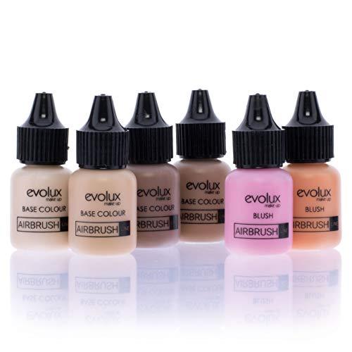 NOCHE Y DÍA EVOLUX Maquillaje Fluido Para Aerógrafo, Kit Color Base Y Coloretes 6 x 10 ml