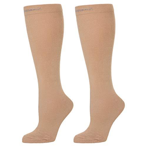 CompressionZ Compression Socks For Men & Women - 30 40 mmHG Graduated Medical Compression - Travel, Edema, Diabetics - Swelling in Feet & Legs - L, Nude