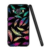 ZhuoFan Coque Samsung Galaxy J5 2016, Etui en Silicone Noir avec Motif 3D Fun Fantaisie Dessin Antichoc TPU Gel Housse de Protection Case Cover Coque pour Téléphone SamsungJ5 5.2 Pouce, Plume