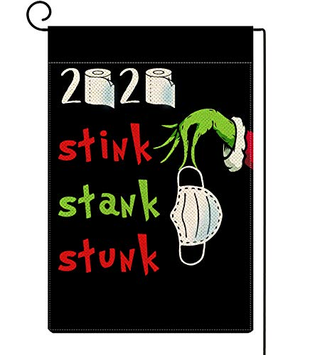 ORTIGIA 2020 Stink Stank Stunk Christmas Garden Flag Vertical Double Sized Christmas Grinch Winter Holiday Party Yard Lawn Outdoor Decoration 12.5 x 18 Inch Black