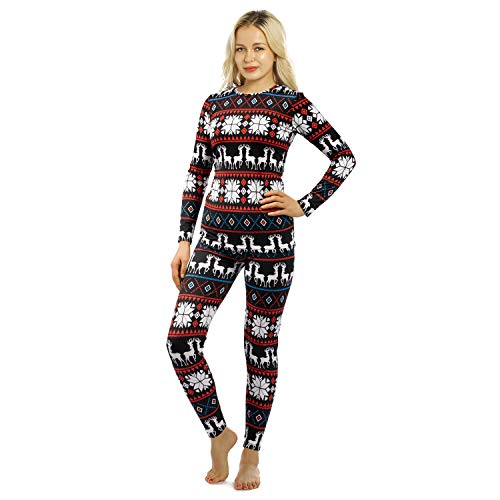 Womens Thermal Underwear Set Long Johns with Fleece Lined Ultra Soft Top & Bottom Base Layer Thermals for Women Christmas X-Large