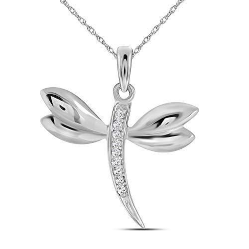 14kt oro blanco para mujer diamante redondo mariposa bug colgante con alas .03quilates