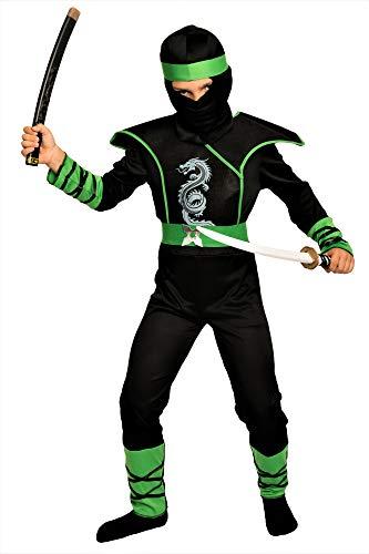 Magicoo Cobra Ninja Kostüm für Jungen Kinder Gr. 110 bis 140 - Ninja-Kostüm Halloween Fasching Kind (110/116)