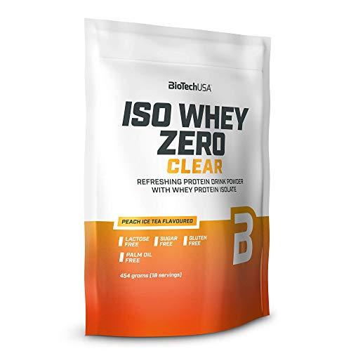 BioTechUSA Iso Whey Zero Clear, Polvo para bebida refrescante, a base de suero de leche aislado, sin azúcar, grasas, lactosa y gluten, 454 g, Té helado de melocotón