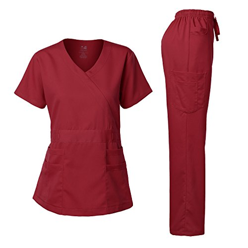 Women's Scrubs Set Stretch Ultra Soft Y-Neck Wrap Top and Pants Burgundy S
