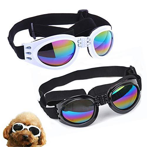 NA/ 2 gafas de perro con correa ajustable, protección para los ojos de perro para viajes, esquí, protección UV, gafas de sol impermeables para perro (negro, blanco)