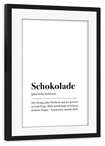 artboxONE Poster mit Rahmen schwarz 75x50 cm Schokolade Definition (deutsch) von Pulse of Art - gerahmtes Poster