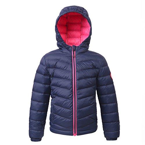 Rokka&Rolla Girls' Ultra Lightweight Hooded Packable Puffer Down Jacket,Dark Navy,L (10/12)