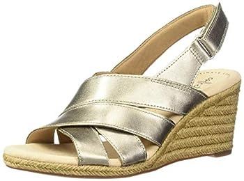 Clarks Women s Lafley Krissy Espadrille Wedge Sandal pewter metallic leather 100 M US