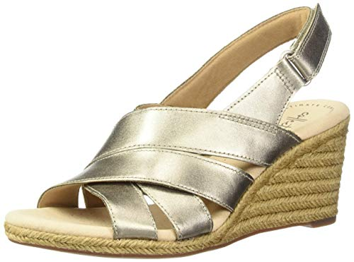 Clarks Women's Lafley Krissy Espadrille Wedge Sandal, Pewter Metallic Leather, 065 M US