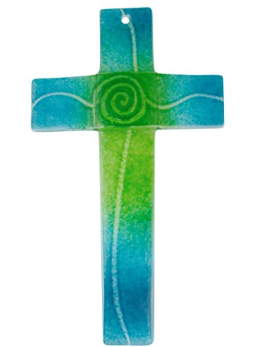 Glaskreuz türkis/grün, Breite 3,2 cm 20 x 11 cm